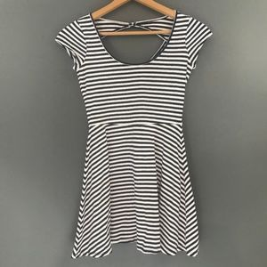American Eagle Womens Navy Striped Skater Dress, S